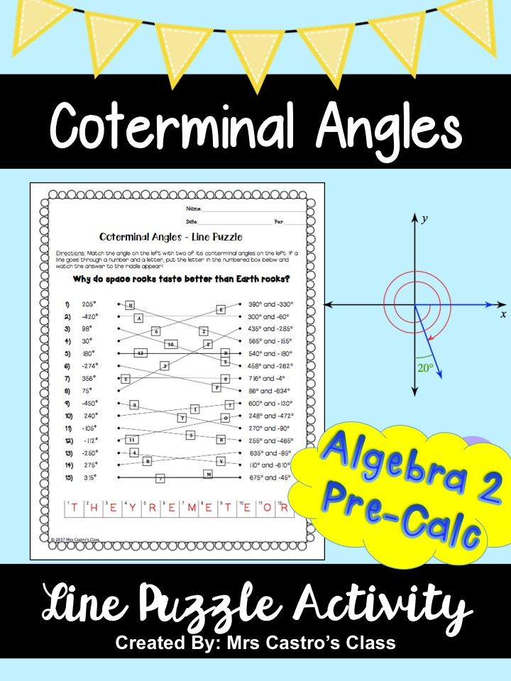 Coterminal Angles Line Puzzle Activity Secondary Math Resources