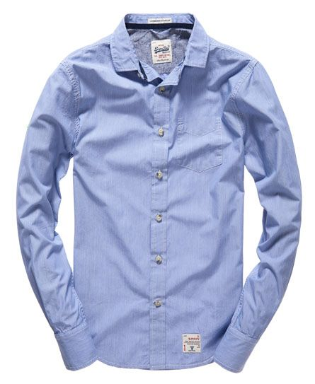 Superdry Cut collar shirt in blue. Pair it with denim or navy chinos from Blowes Clothing