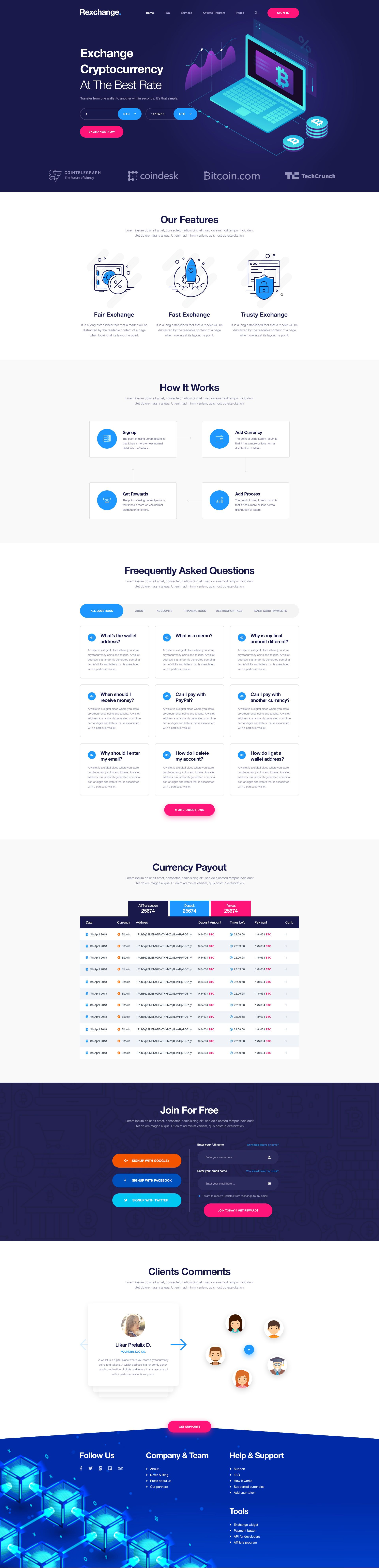 Rexchanger Cryptocurrency Exchanger Psd Template By Brotherslab Themeforest Psd Templates Website Template Design Psd Template Website