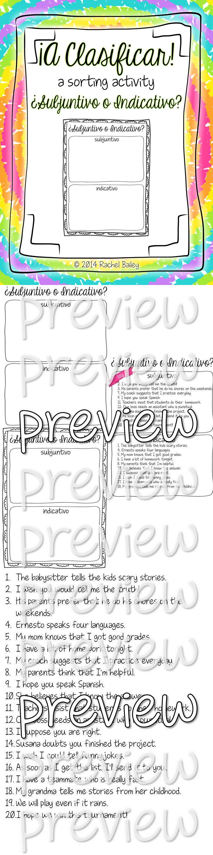 Subjunctive Vs Indicative Spanish Sorting Activity And Worksheets Sorting Activities Teaching Spanish Spanish Teacher Resources [ 2880 x 720 Pixel ]