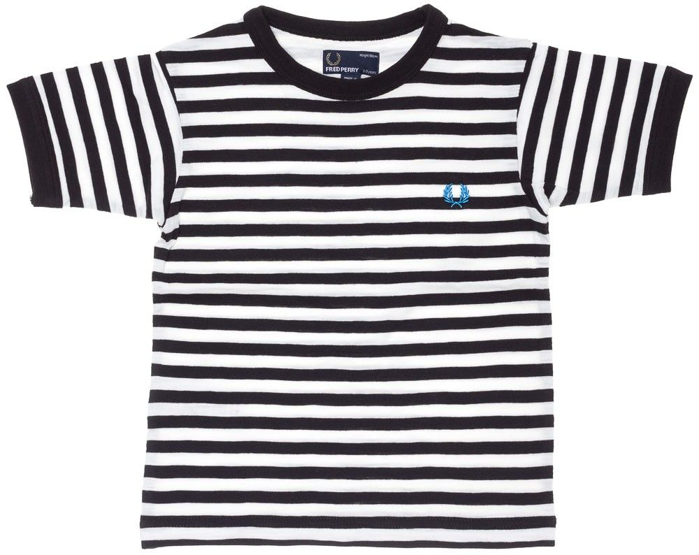 41e96ca9 FRED PERRY SLUB STRIPE RINGER KIDS TEE WHT/BLK Dress your kid up prim and  proper in his very own Fred Perry Kids Tee! This black & white striped kids  ...