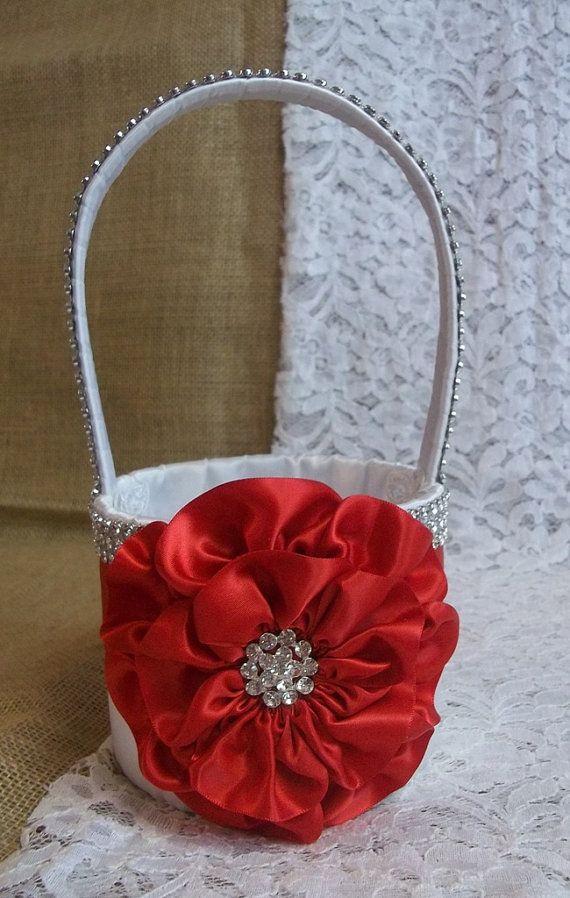 Red white flower girl basket with rhinestone by allaheartdesires red white flower girl basket with rhinestone by allaheartdesires 7500 mightylinksfo
