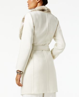 18c6ffb4202 Alfani Petite Faux-Fur-Trim Belted Coat
