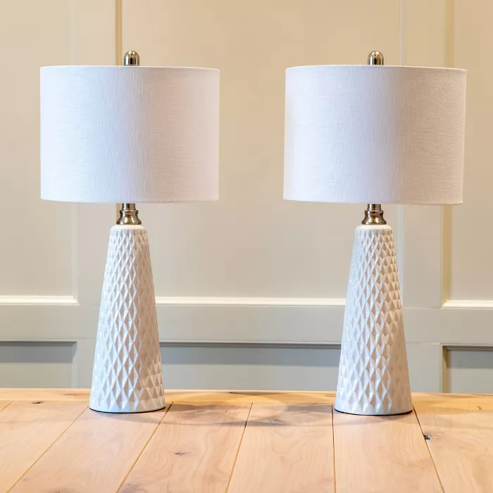 26 Set Of Two Jameson Textured Ceramic Table Lamp White Decor Therapy In 2021 Ceramic Table Lamps White Table Lamp Lamp Sets Set of two table lamps