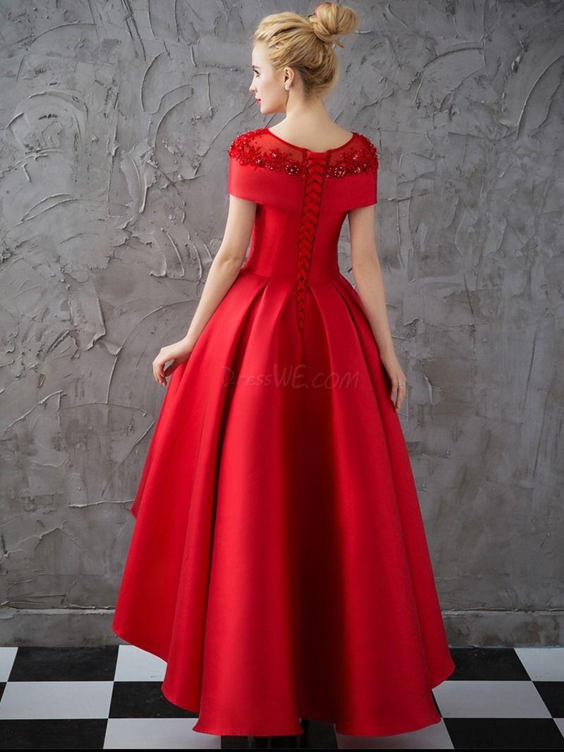 Dresswe Com Supplies Vintage A Line High Low Asymmetry Applique Beaded Cap Sleeve Evening Dress Vintage Evening Dresses Red Evening Dress Fancy Wedding Dresses