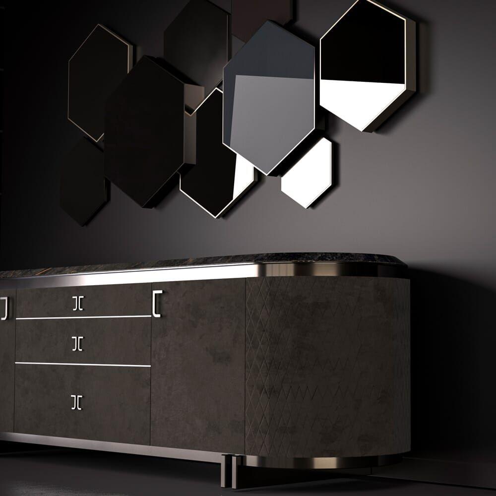 Exclusive Italian Marble Topped Luxury Designer Nubuck Buffet