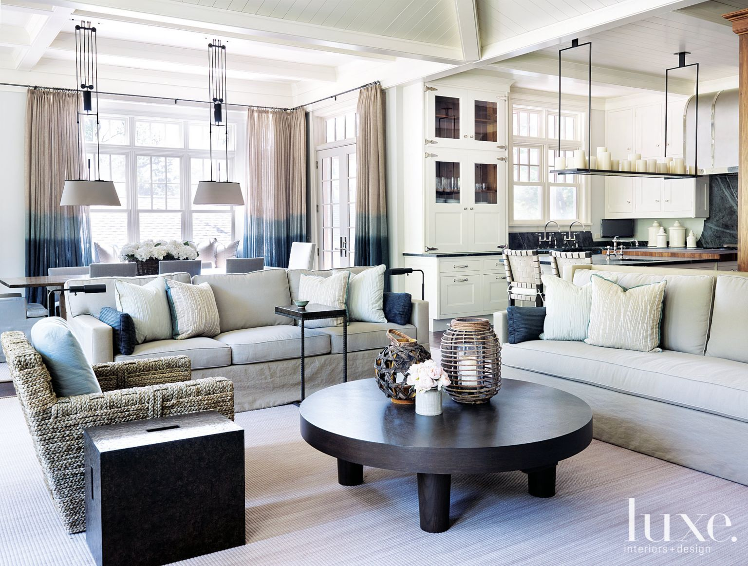 Contemporary White Living Room Vignette with Long Console ...