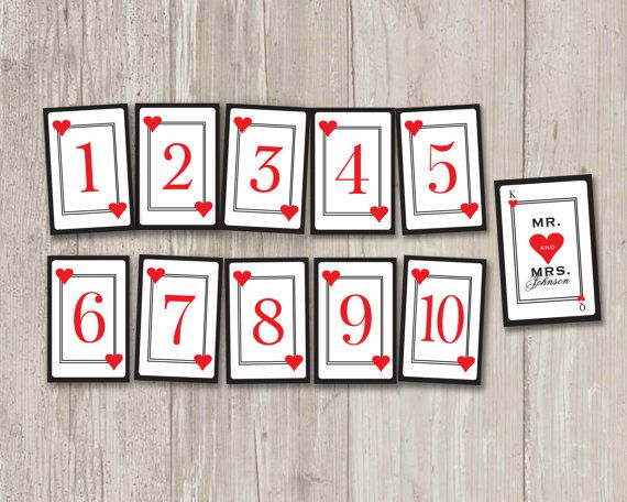 Playing Card Table Numbers Vegas Wedding Casino Party Table