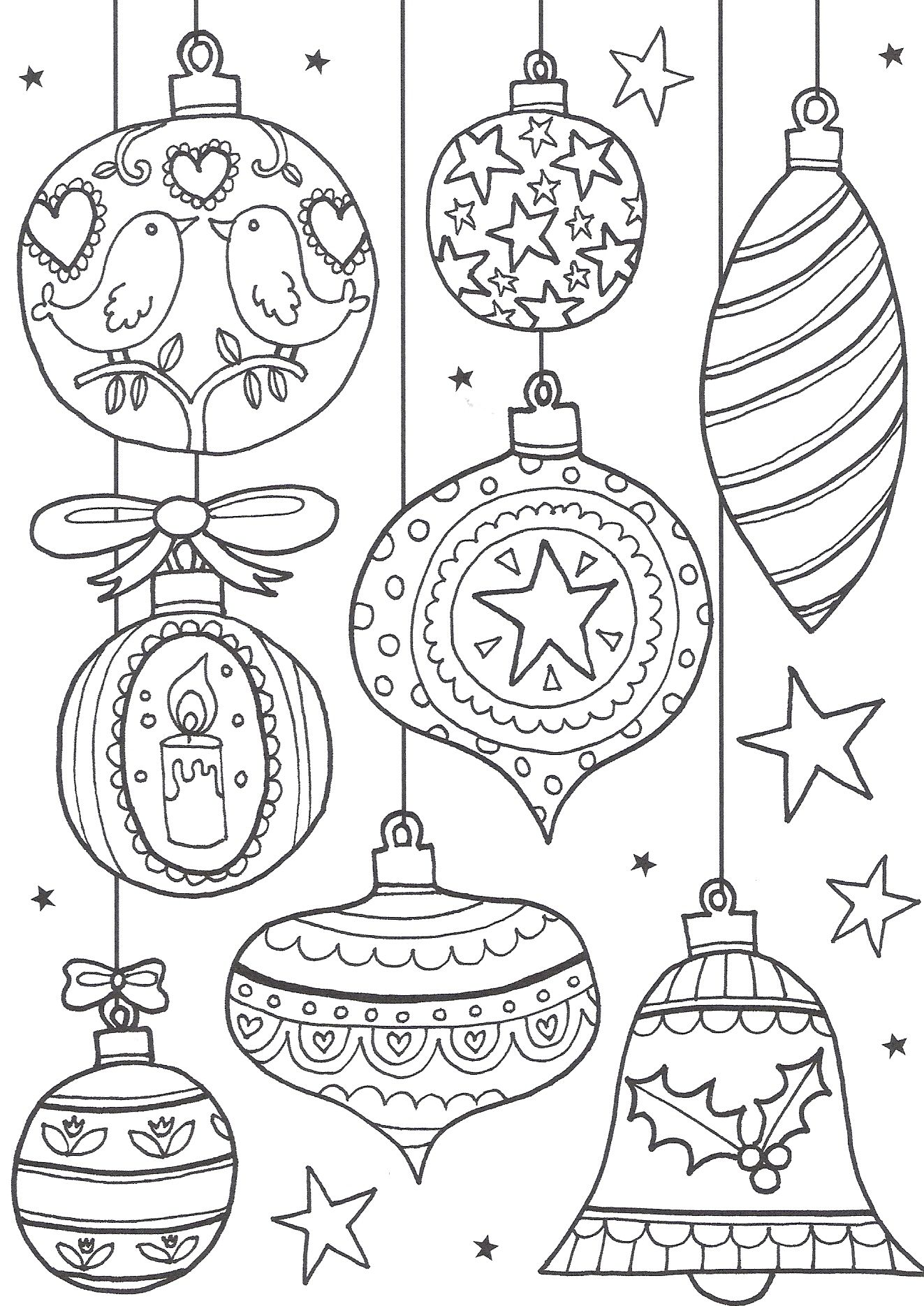 reindeer colouring page christmas baubles