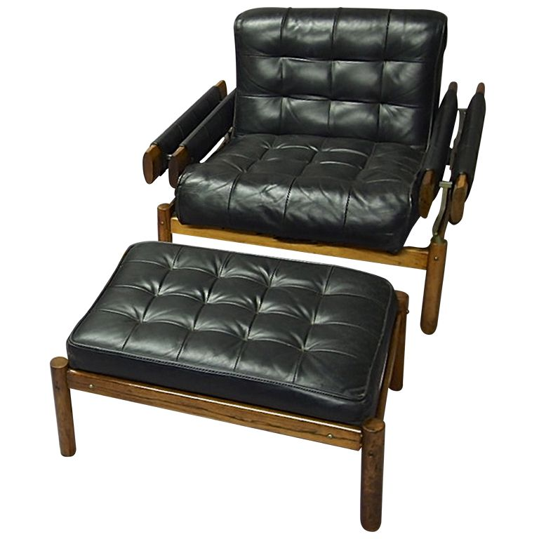 Percival Lafer; Leather and Jacaranda Lounge Chair with Ottoman, 1960s.