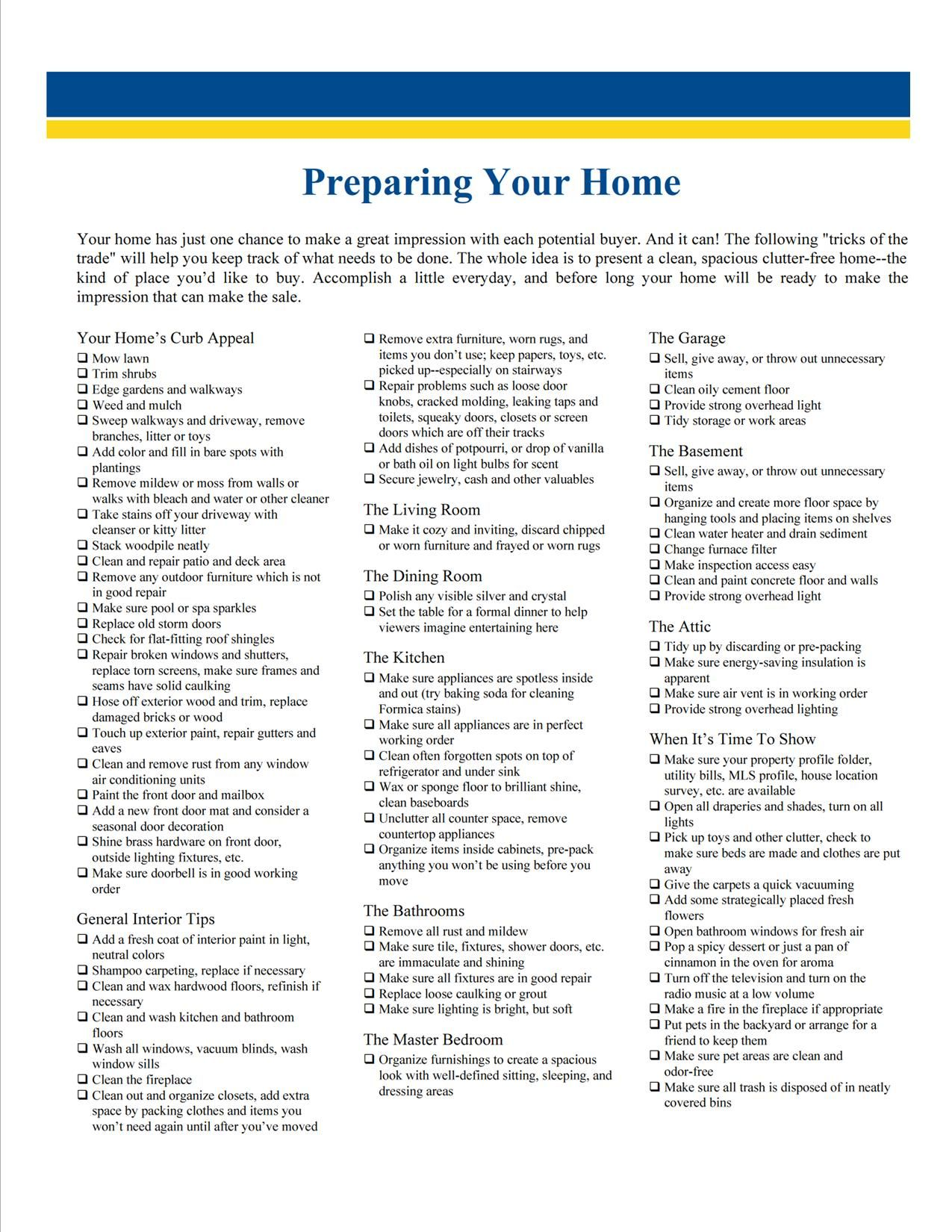 Preparing Your Home To Sell Checklist Home Selling Tips Home Mortgage Mortgage Tips