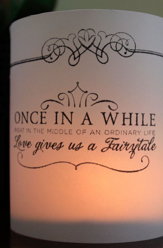 Wedding table decor fairytale decor wedding luminaries for Table quotes