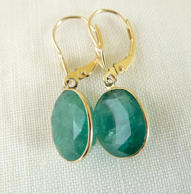 Vintage Oval Emerald 14kt Yellow Gold Dangling Pierced Earrings