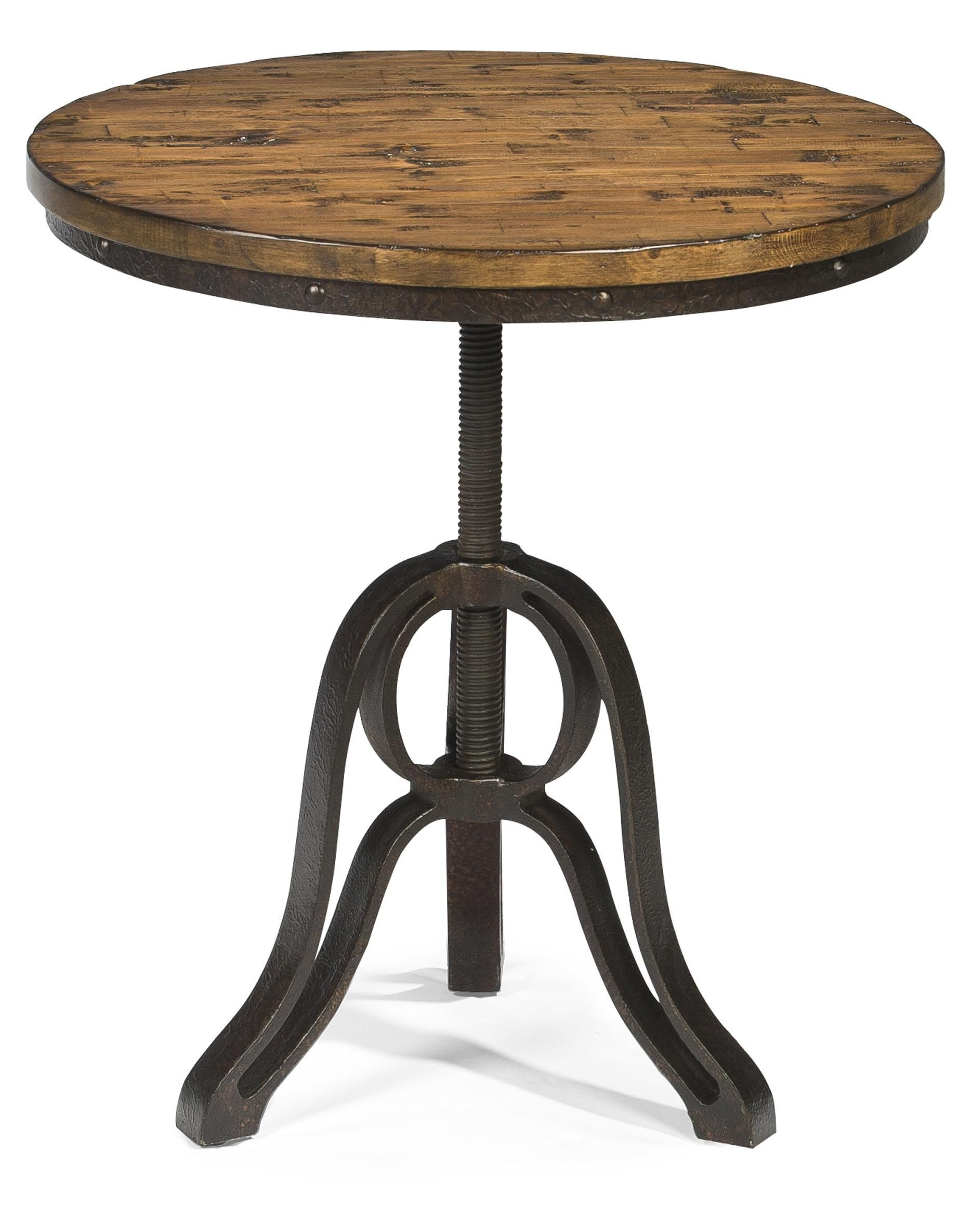 Cranfill Industrial Style Round End Table With Adjustable Height By Magnussen Home Round Accent Table Accent Table End Tables [ 2370 x 1872 Pixel ]