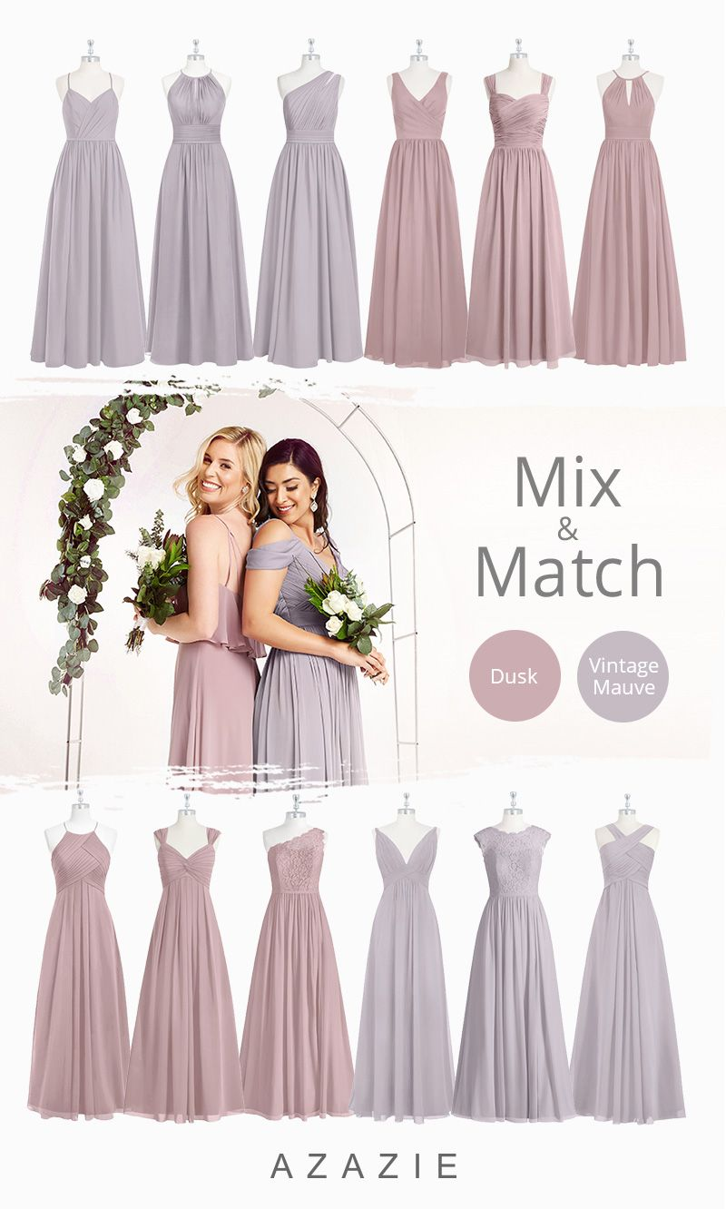 Azazie Dusk and Mauve Bridesmaid Dresses