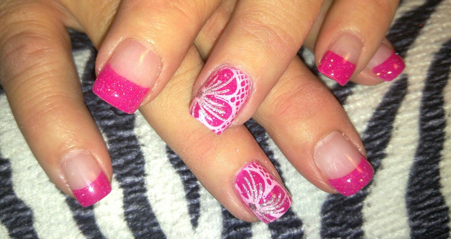 Floral Hot Pink French Tip Nails Acrylic French Tips With Stamped And Free Hand Nail Art On Ring Fingers And Gel Top Coat Nail Art French Tip Nails Nails