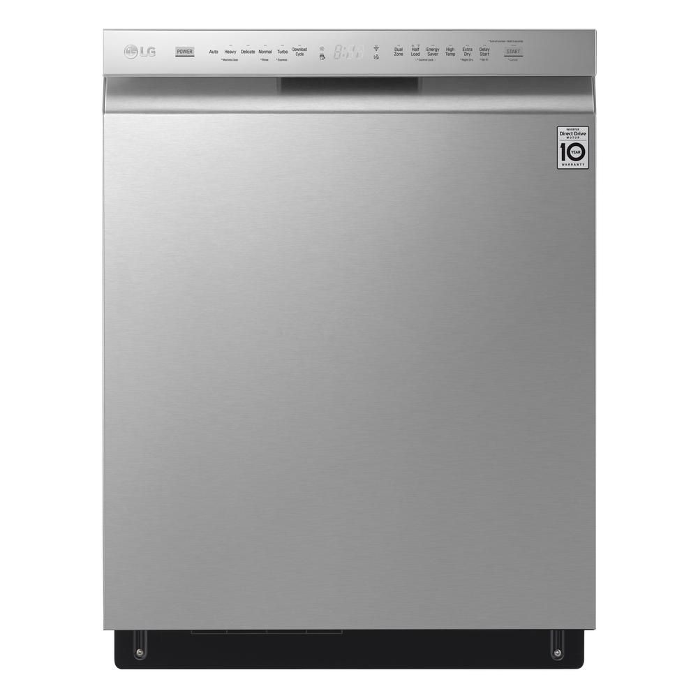 Lg Electronics 24 In Front Control Built In Smart Dishwasher In Stainless Steel W Quadwash 3rd Rack Smartthinq 46 Dba Ldf5678st The Home Depot Quiet Dishwashers Built In Dishwasher Dishwasher