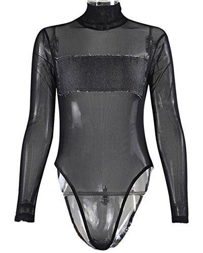 New Trending Bodysuits  USGreatgorgeous Womens Sexy Long Sleeve Mesh  Bodysuit with Denim Bosom (S 44797b1de