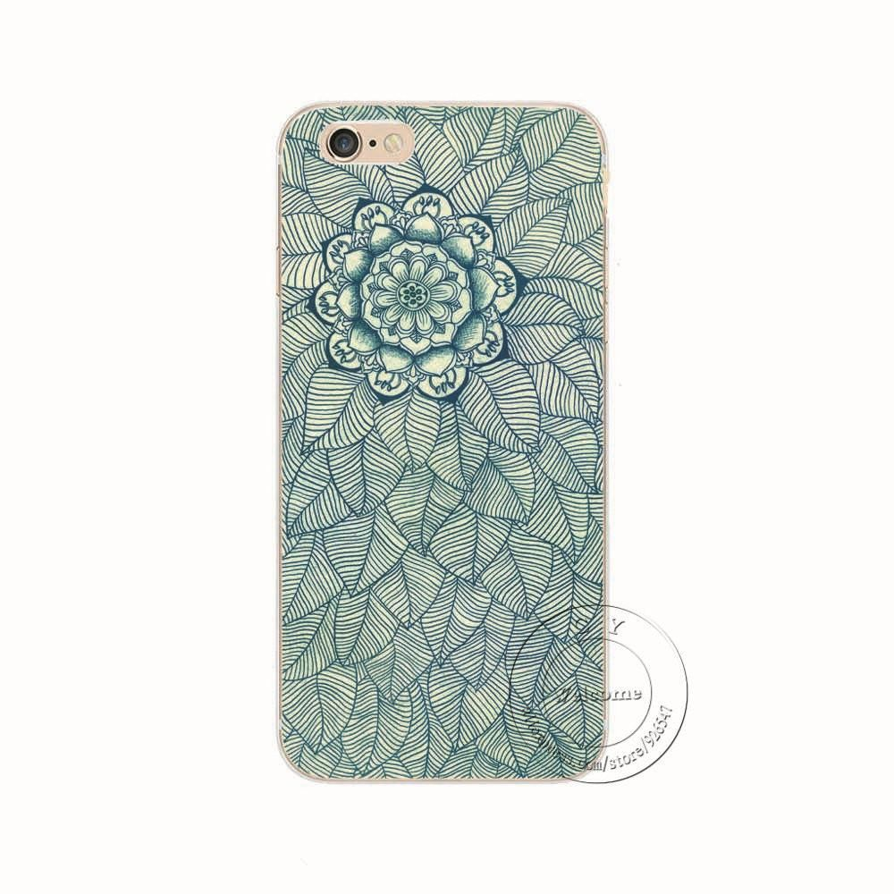 43d1bc1d626 Shell For Apple iPhone 5 5S SE 5C 6 6S 7 Plus 6SPlus Back Case Cover  Printing Mandala Flower Datura Floral Cell Phone Cases