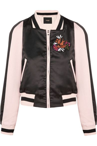 bb90238ed MAJE Basla Appliquéd Duchesse-Satin Bomber Jacket. #maje #cloth ...