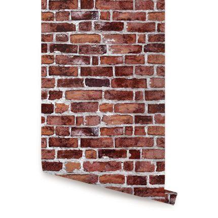 Red Brick Peel Amp Stick Fabric Wallpaper Repositionable