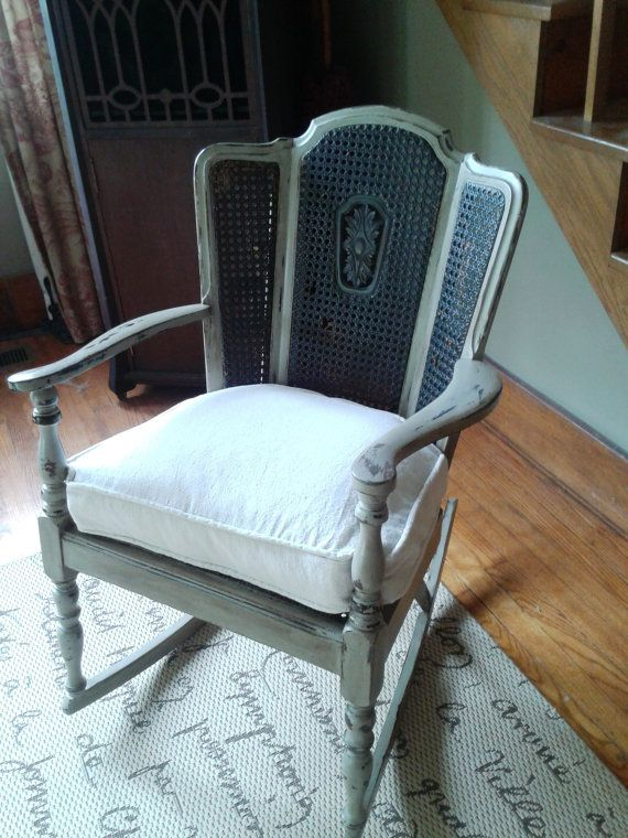 Groovy Gorgeous Cane Wing Back Rocking Chair Shabby Chippy Customarchery Wood Chair Design Ideas Customarcherynet