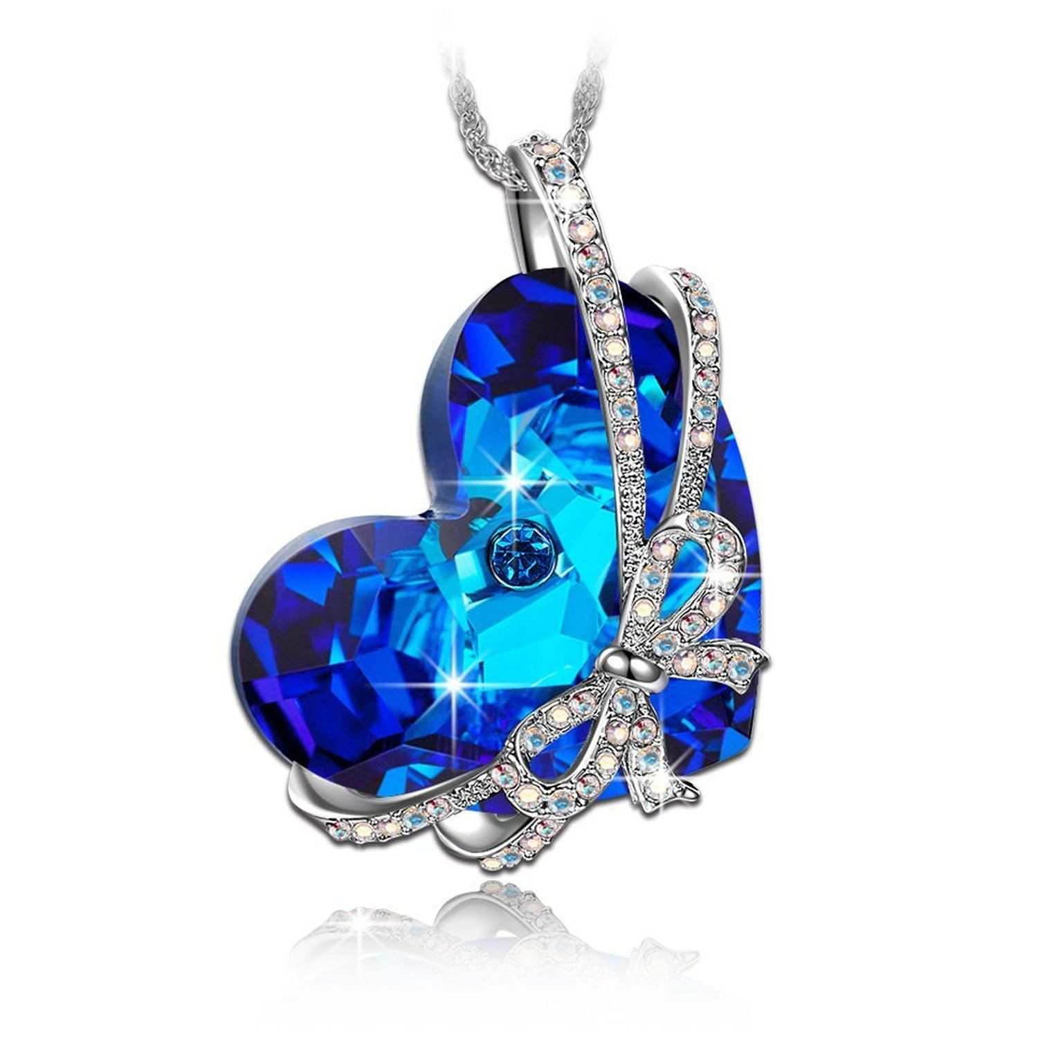 Bundle offer 18k gold plated amp white gold plated necklace 2 ring - Qianse Heart Of The Ocean Bowtie Pendant Necklace Made With Swarovski Crystal Women
