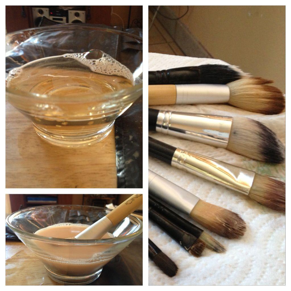 Disinfect/Cleanse makeup brushes Hot water vinegar oil