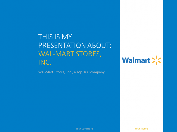 free wal-mart powerpoint template with white and blue colors | top, Presentation templates