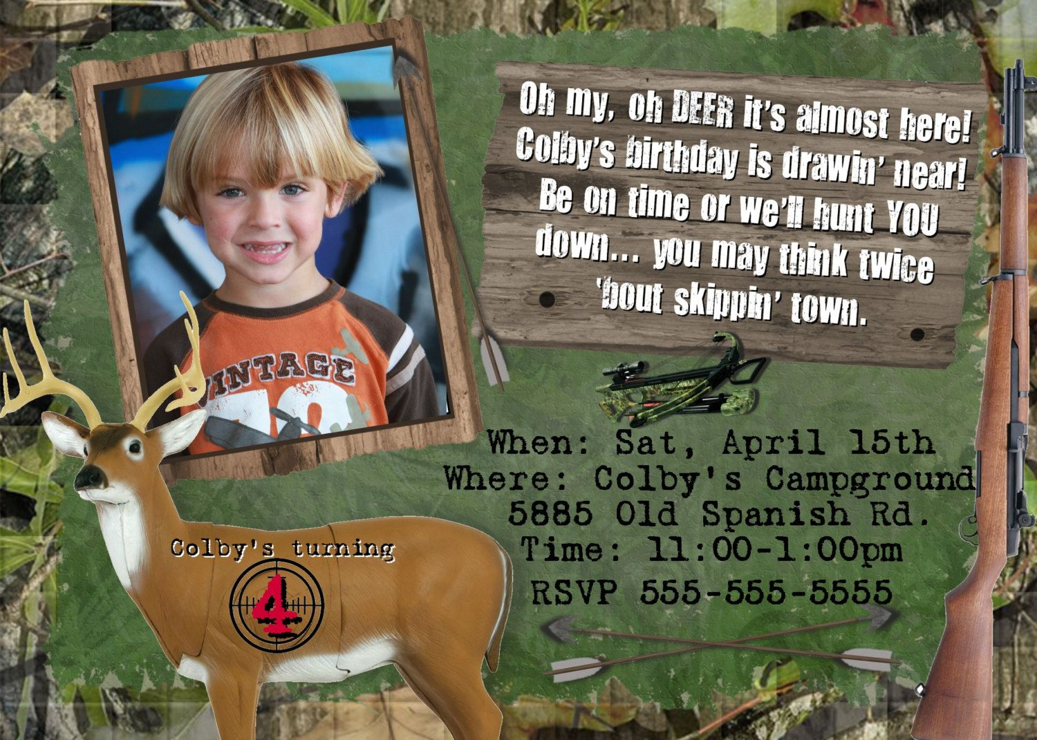invitation words forst birthday party%0A HUNTING Birthday Party PHOTO Invitation Boys Theme CAMO Camouflage Invite  Person