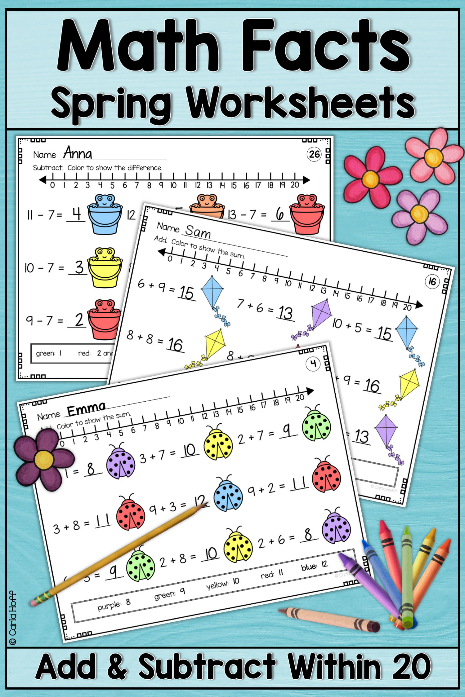 Spring Addition And Subtraction Within 20 Worksheets