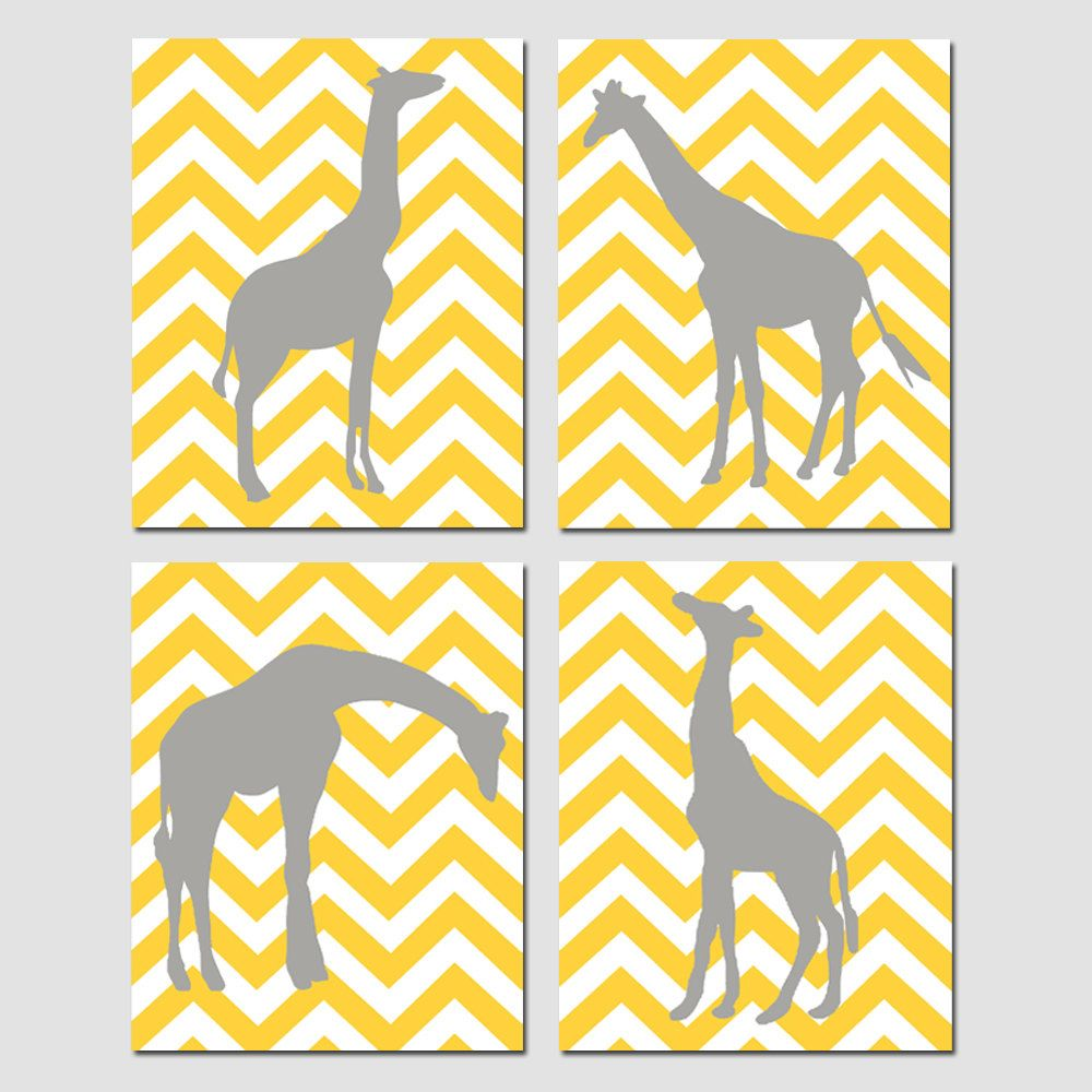 Modern Chevron Giraffe Quad - Set of Four 11x14 Chevron Zig Zag ...
