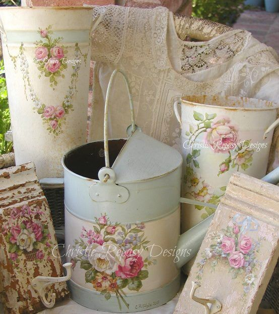Beautiful rose embellished garden accessories....could be any design My Watering can!!