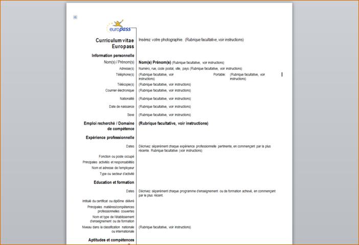 curriculum vitae europass scarica il cv treccia pinterest - Curriculum Vitae Francais Modele