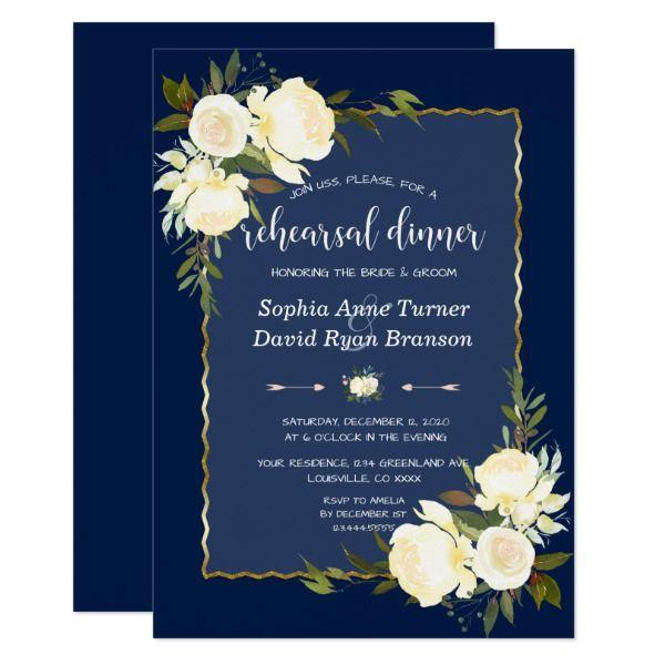 Chic White Wedding Theme: Chic Gold Navy Blue White Floral Rehearsal Dinner