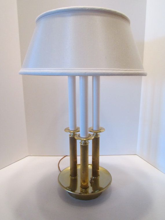 French Bouillotte Brass Lamp by Alsy Vintage Triple by