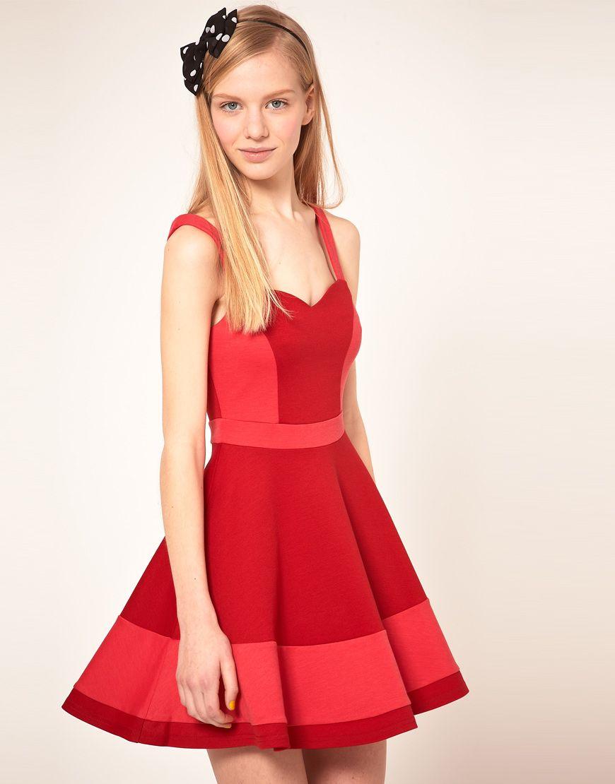 Asos skater dress in color block i wanna wear that pinterest