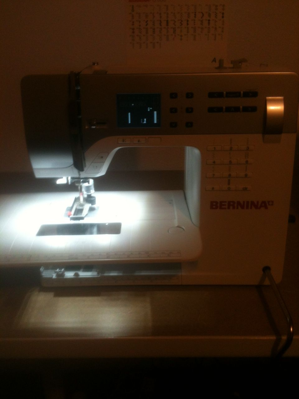Step three.  Powering in my brand new Bernina 350.  Regina is ready to sew. My new sewing machine, I love her so much.  Here she is...