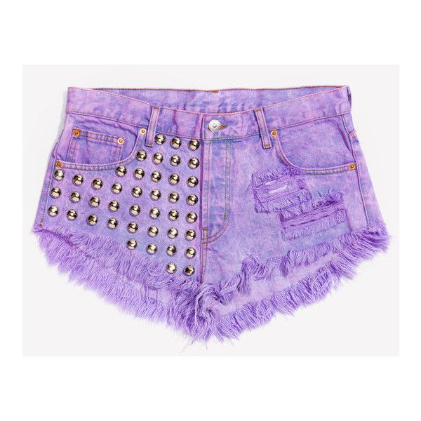 Studded Shorts - High Waisted | Runwaydreamz.com ❤ liked on Polyvore featuring shorts, bottoms, pants, runwaydreamz shorts, high waisted shorts, high-waisted shorts, highwaist shorts and high-rise shorts
