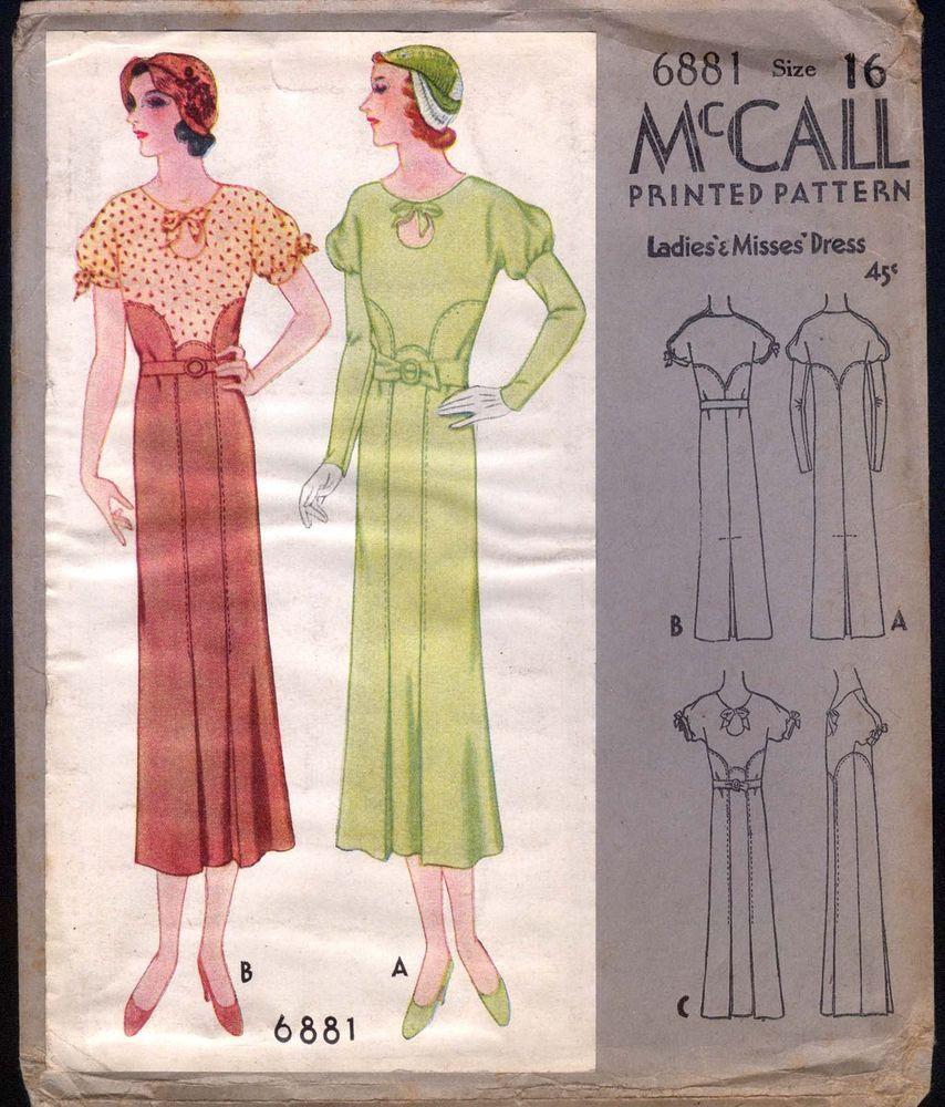 McCall 6881 after Lucien Lelong   ca. 1932 Ladies' & Misses' Dress