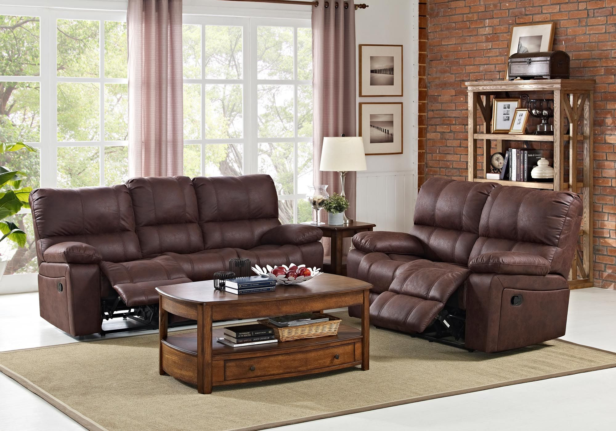 Riley Reclining Sofa And Love Seat Soft Brown Fabric Traditional Style Pillow Arms 100 Polyester 64 Pocketed Coil Cushions Sinuous Springs