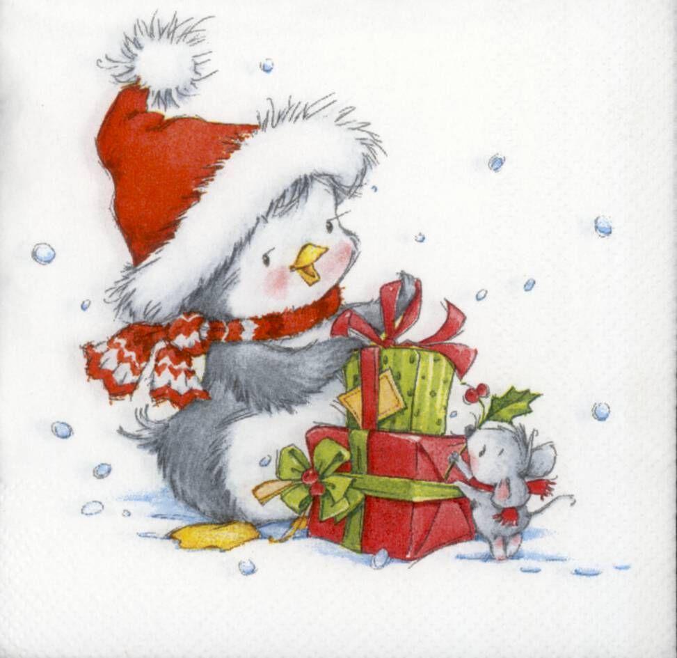 Decoupage Paper Napkins of Christmas Penguin and Mouse | Chiarotino #papernapkins