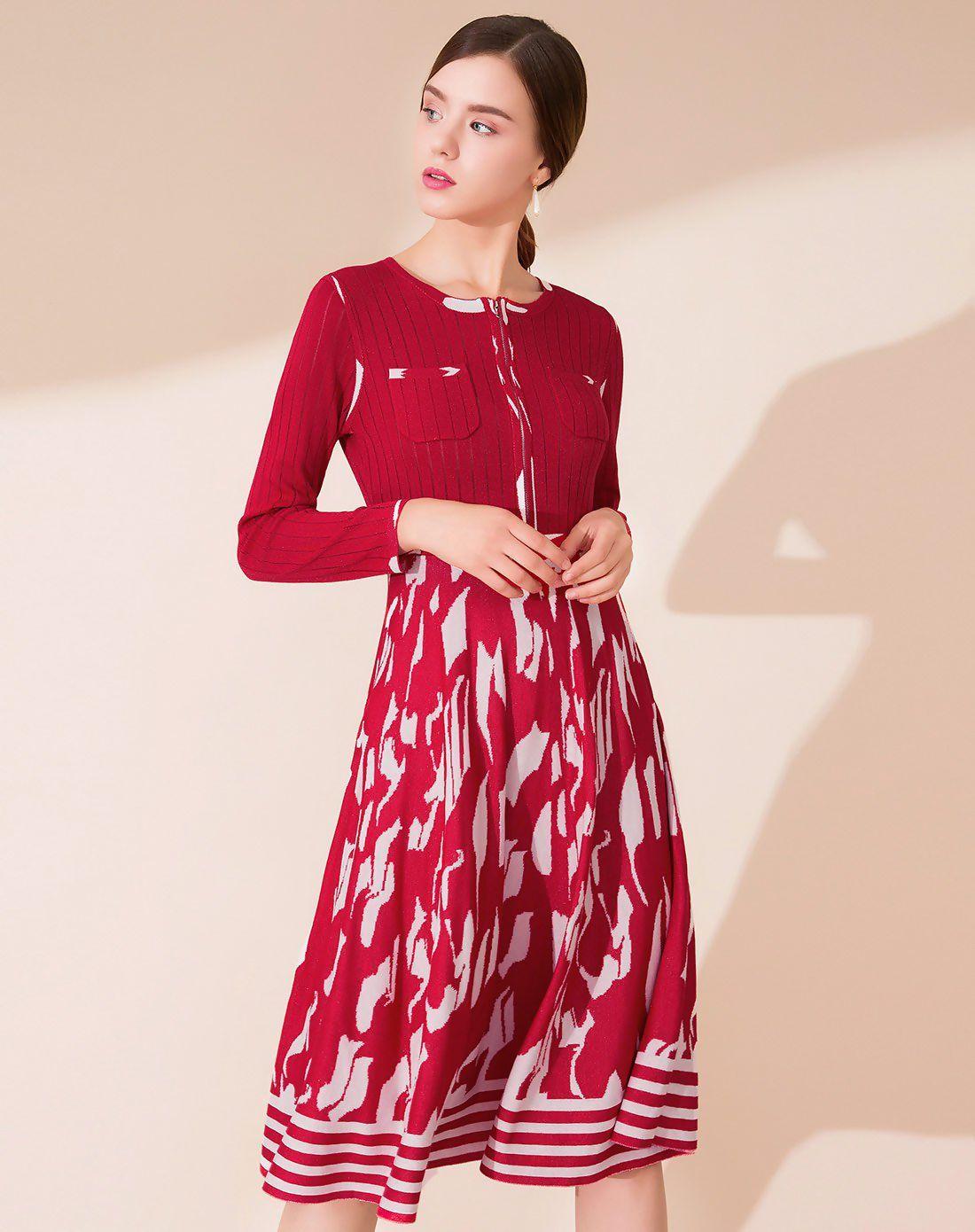 Red round neck long sleeve length womenus a line dress fashion