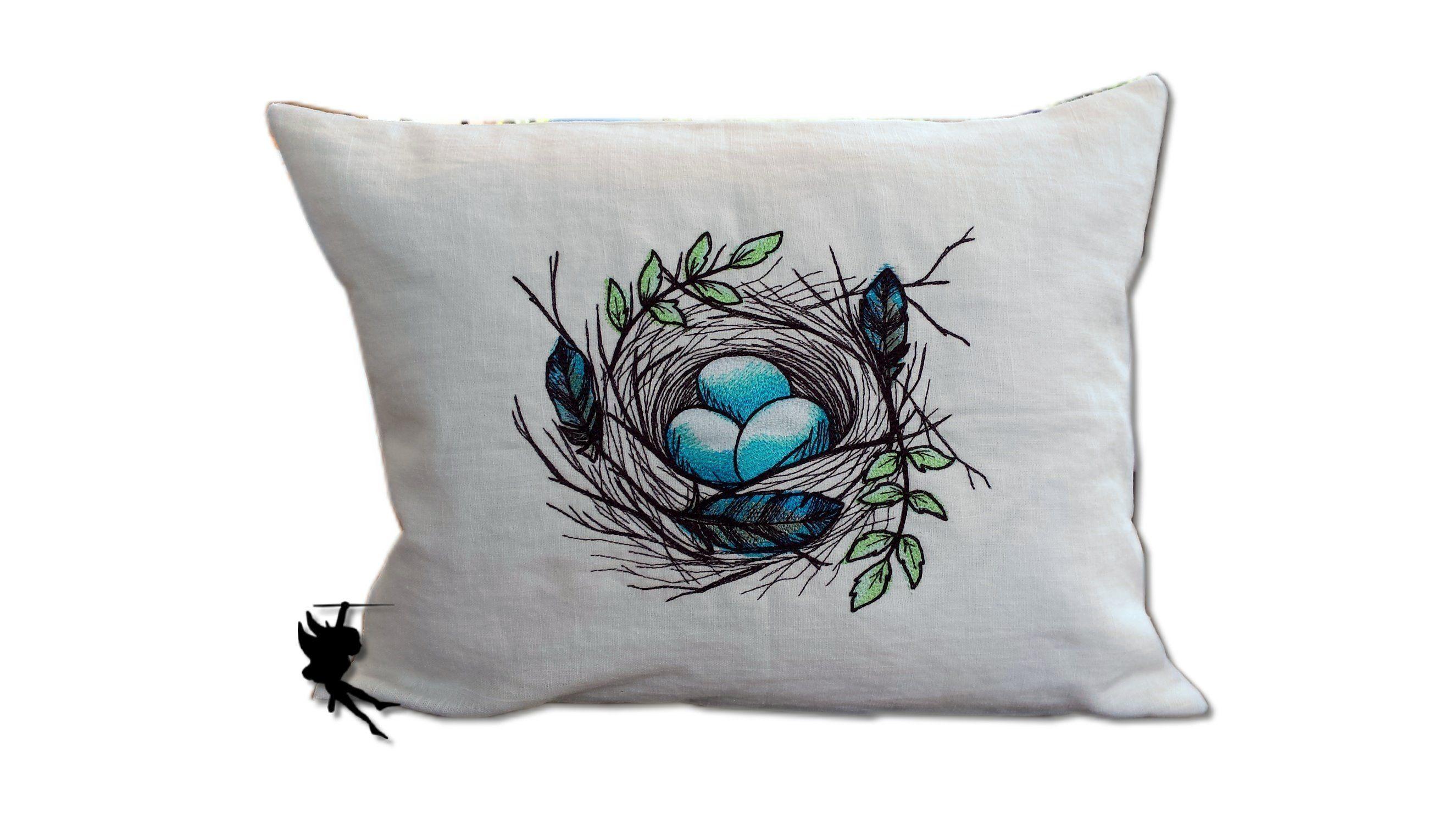 Bird Nest Linen Cushion