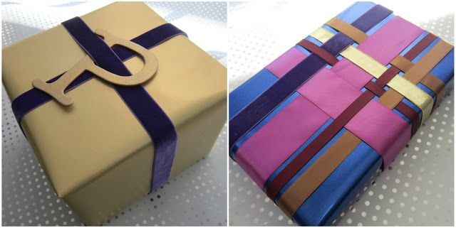 Chanukah Gift Wrap 4:    WEAVING RIBBON ~      Left: The chipboard letter was left over from another project, but you can find these at most craft stores. I painted mine gold and weaved it through a purple velvet ribbon.     Right: If you ever made woven potholders as a child you will find this wrapping technique isn't that different. Just weave your horizontal ribbons in and out of the vertical until you are happy with your design.