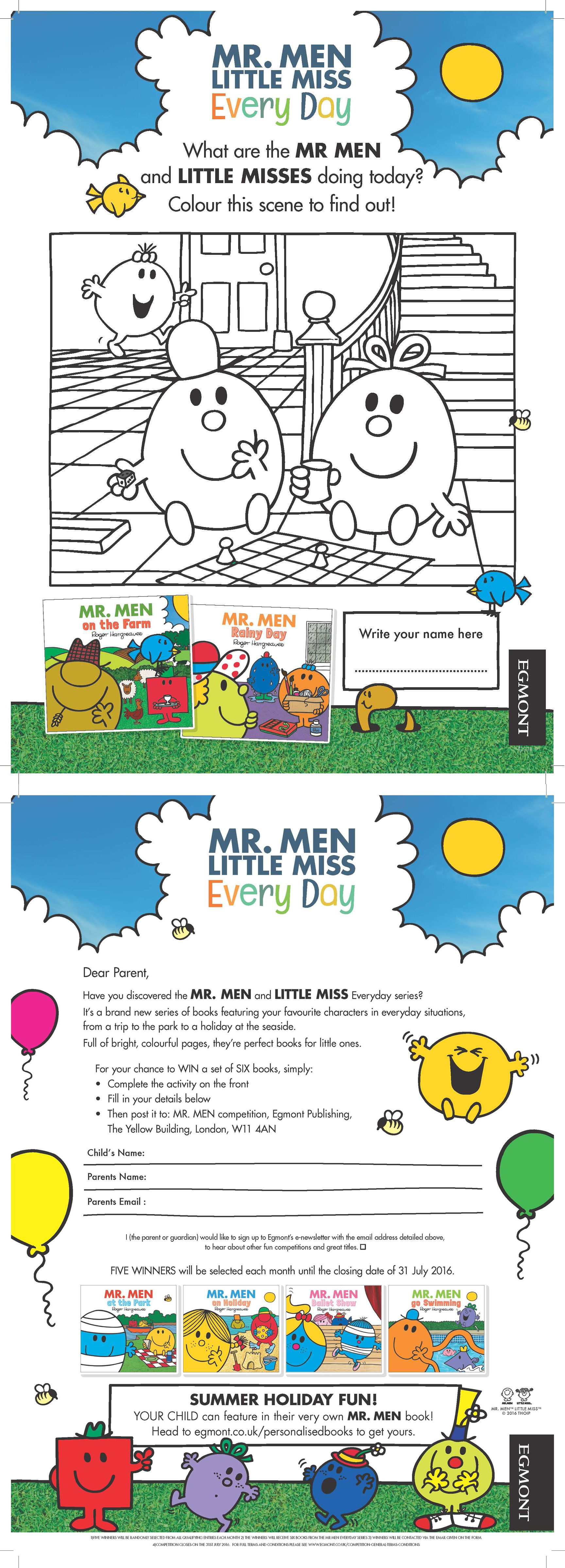Mr Men And Little Miss Everyday Activity Sheet