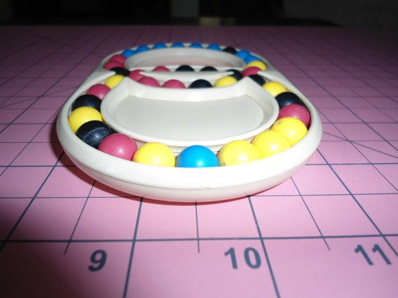 Vintage Colorful Plastic Moving Beads Baby Teething Ring Rattle Crib Toy