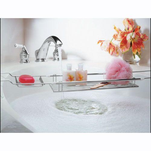 Expandable Bathtub Caddy   Chrome Tub Valet | Organize.com