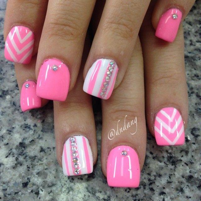 Instagram photo by dndang nail nails nailart maybe same pink white nail design minus the rhinestones prinsesfo Gallery