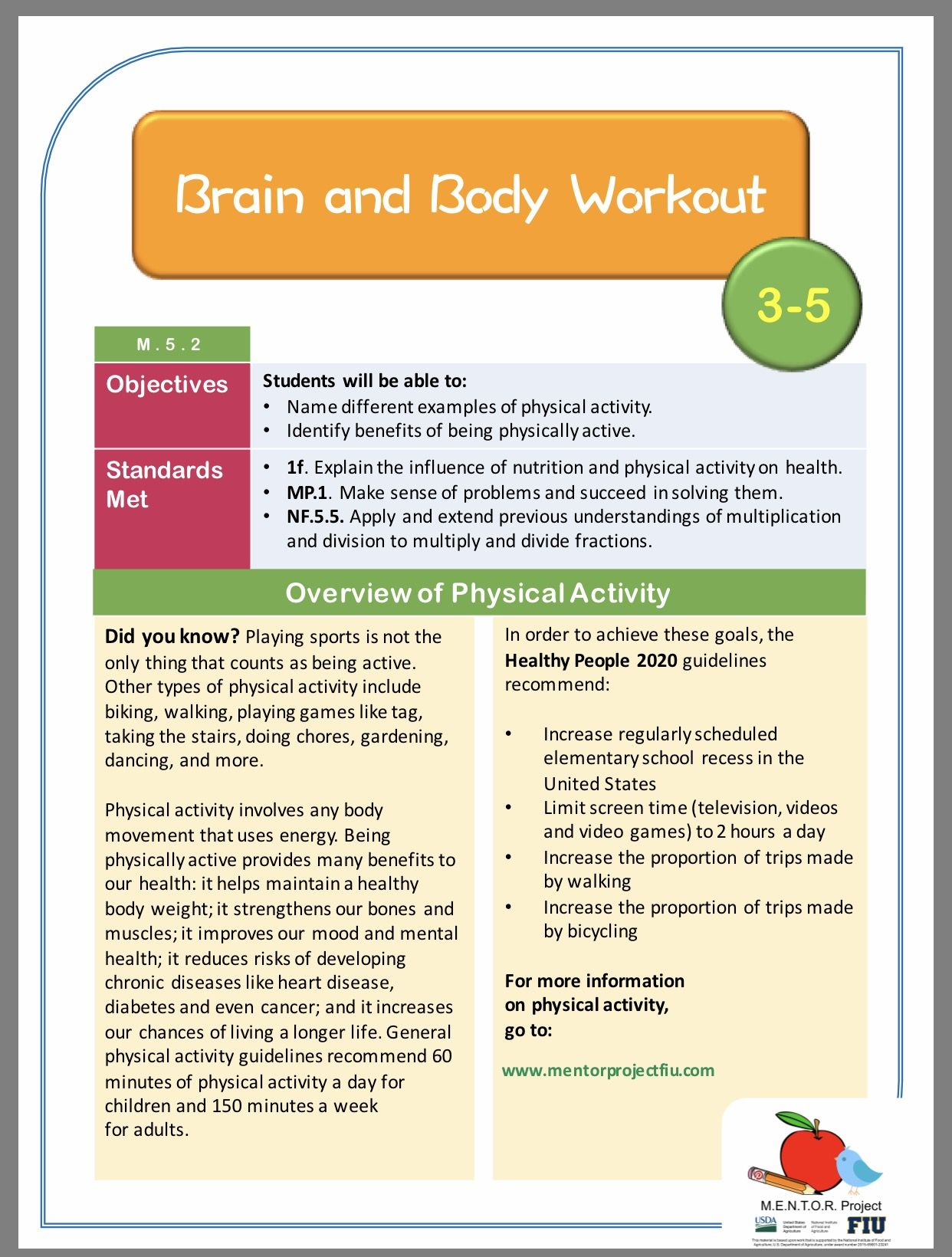 Physical Activity Math Lesson Plan For Grades 3 5